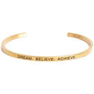 Armband med budskap - Cuff, Guld, Dream Believe Achieve