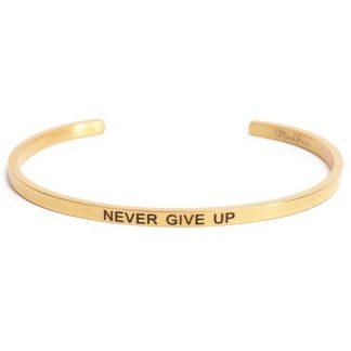 Armband med budskap - Cuff, Guld, Never Give Up
