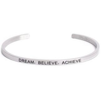 Armband med budskap - Cuff, Silver, Dream Believe Achieve