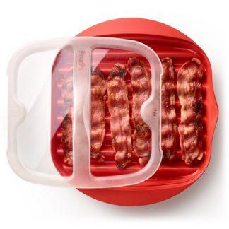 Bacon Cooker för mikrovågsugn, Röd