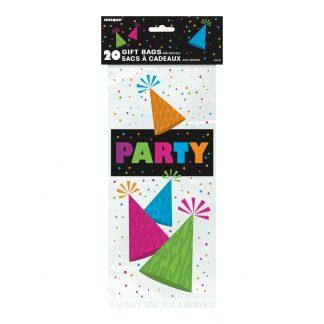 Cellofanpåsar Neon Party - 20-pack