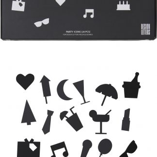 Design Letters Party Icons till Message Board (20 del) , Svart