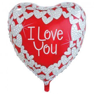 I Love You Silver Hjärtan Folieballong XL