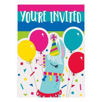 Inbjudningskort Llama Birthday Party - 8-pack