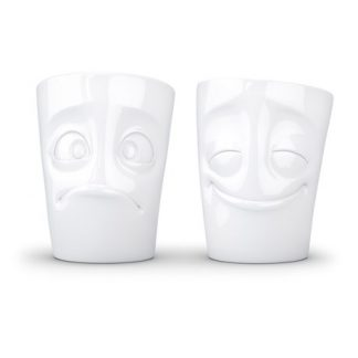 Kaffemugg med ansikte (2-pack), Glad & Snopen