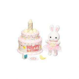 Kaninfigur med födelsedagstårta