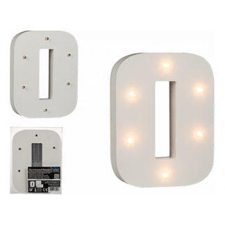 LED-Siffra i Trä Vit - Siffra 0