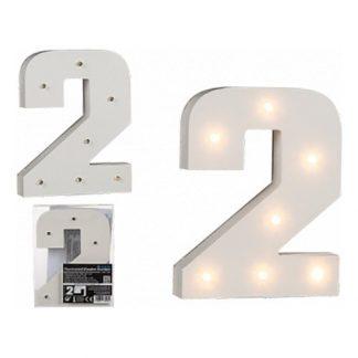 LED-Siffra i Trä Vit - Siffra 2