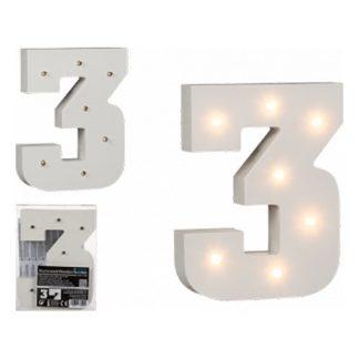 LED-Siffra i Trä Vit - Siffra 3