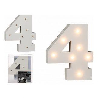 LED-Siffra i Trä Vit - Siffra 4