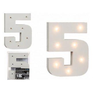 LED-Siffra i Trä Vit - Siffra 5