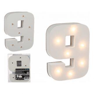 LED-Siffra i Trä Vit - Siffra 9