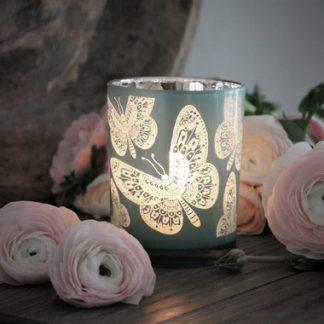 Ljuslykta Butterflies (Aqua) - Majas lyktor/ Barncancerfonden (Aqua)