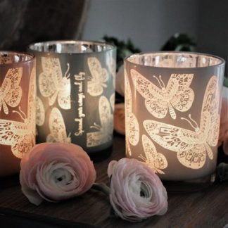 Ljuslykta Butterflies - Majas lyktor/ Barncancerfonden (Vit)