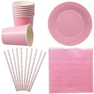 Paket rosa dukning för 8 personer
