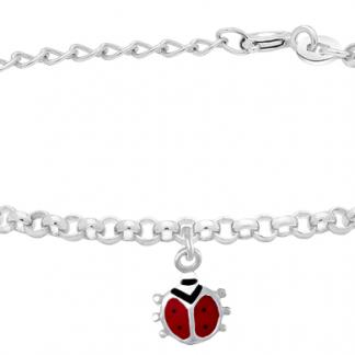 Silverarmband med nyckelpiga, 17cm