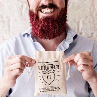 Skägg-glitter - Glitter Beard Kit, Röd