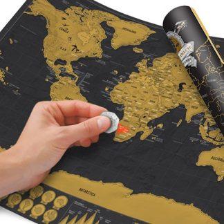 Världskarta - Scratch Map Deluxe, A3-storlek, Svart