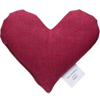 Vetevärmare - Hjärta i linnetyg, Vinröd
